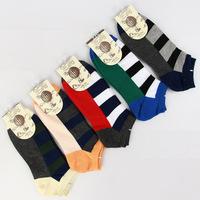 2014 Izmir Horizontal Stripe Cotton Men's Boat Socks 5 pairs per lot
