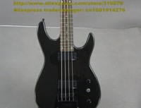 Shiny Black White Rosewood Fingerboard Basswood Body Maple Neck Headless H-H Pickups 24 Frets Electric Bass Guitar No.0037-45