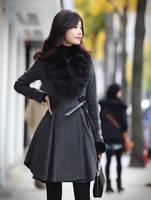 2015 Autumn Winter Fashion Women's Woolen Overcoat Real Fox Fur Collar Slim Fur Coat Luxury Fur Jacket for Sale A096