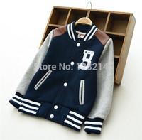 Free Shipping Kids Clothing 2014 New Autumn Winter Boys Baseball Velvet Jacket Coat  Korean Thick Cotton Children's Coat