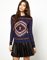 High Quality geometric ptint patterns long-sleeved sweaters 2014 Women fashion pullovers crochet sweater