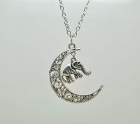 Free Shipping 20pcs/lot Silver Tone new moon necklace cute elephant pendant crescent moon necklace steampunk style jewelry