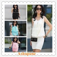 4xWomens Ladies Chiffon Sleeveless Top Bodycon Skirt Contrast Mini Dress Party 4 Colors S-XL