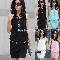 Womens Ladies Chiffon Sleeveless Top Bodycon Skirt Contrast Mini Dress Party 4 Colors S-XL