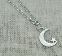 Free Shipping 20pcs/lot Silver Tone new moon necklace cute Star crescent moon necklace steampunk style