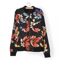 2014 autumn brand design imitate silk flower print black cardigans streetwear baseball casual women hoody fashion sweatshirt