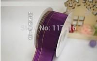 "38 mm 1 1/2""  gold  scallop  edge purple  voilet organza pull bow ribbon wedding flower wedding car decoration  50 yards / lot"