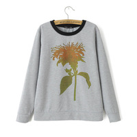 2014 autumn winter new women girl sweatshirt women hoody flower O-neck gray long sleeve casual hoody fashion free shipping
