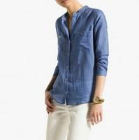New Fashion Ladies' elegant classic blue denim blouse long sleeve stand collar Shirts casual slim tops-H944