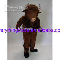 New arrival 2014 Adult cartoon lovely Mean Buffalo fur mascot costume fancy dress party costume adult size