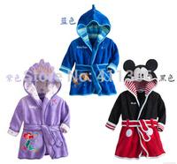 SY055 Free shipping new 2014 arrival children cartoon pajamas girl boys bathrobes robe kids soft bath towel 3 color retail