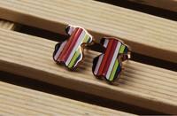 Color Teddy Bear earrings titanium steel earrings hypoallergenic rose gold earrings female jewelry