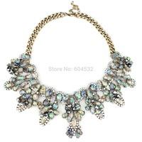 Wholesale Autumn Jewelry Man-made shell Beads ZA Brand Statement Bib Necklace Pendant Collar