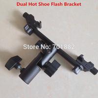 180 degree rotating Dual Shoe Flash Bracket for Flashgun Digital DC Camera Arms Bracket and light stand