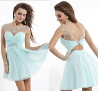 Beautiful Light Blue Crystal Scoop Backless A Line Chiffon Short Prom Party Dresses 2014 Graduation Homecoming Dresses