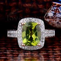 New Arrival Solid 14KT Rose Gold Diamond & Ravishing Peridot Ring Free Shipping R00122