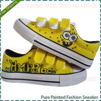SpongeBob SquarePants Pattern Children's Fashion Velcro Casual Sneakers Hand Painted Low Top Kids Canvas Tide Shoes Girl Sneaker
