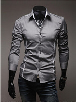 New 2014 Autumn Winter Men long-sleeved Shirts Fashion Casual Perfectly Slim Cropped Men Pure Color Casual Shirts Free Shipping