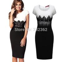 Free Shipping Women Clothing 2014 New Fashion Women White And Black Party Dress Stitching Lace Evening Dress Pencil Dress