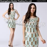 2015 Women Spring Summer Dress Fashion Slim Sexy Golden Green Sequin Paillette Geometric Short Club Party Dresses Beige QBD114
