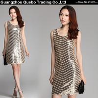 2015 Spring Summer Women Gold Sequin Strip Wave Sleeveless Tank Short Dresses Female Sexy Club Wear Vestidos Beige QBD116
