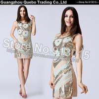 2015 Women Spring Dress Fashion Slim Sexy Novelty Design Green Golden Sequined Beading BLING BLING Club Dresses Beige QBD113