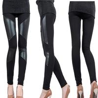 Autumn Sexy Women Slim Plus Size Black Leggings,PU Faux Leather Patchowork Stretchy Thin Trousers legins 3XL XXXL