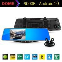 Original 9000B 5.0 inch Touch Android Car DVR GPS Navigation WiFi G-Sensor FHD 1080P Parking Rearview Mirror DashCam Dual Camera