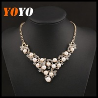 2014 New Fashion Big Chunky Imitation Pearl Statement Necklaces Exaggerated Charms Drop Chokers Gold Chain Necklace