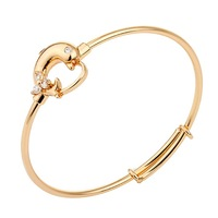 """New Cute Dolphin Shape CZ 18K Yellow Gold Plated Bracelets Bangles Fashion Jewelry For Baby Toddler1.65"""""""