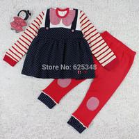 New 2014 Baby Girls clothing Set Baby Dress+ Girls Leggings long sleeve girls baby set suits kids clothes set sroupas meninos