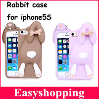 New fashion 3D Cartoon Cute Funny For iphone 5 Case animal rabbit Silicone Soft Cover Case For iPhone 4G 5S 5G