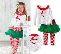 2014 Autumn Baby Girl Clothes Sets Christmas Sweatshirt +Polka Dot TUTU skirt pants Kids Clothes Sets conjunto de roupa