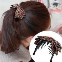 High quality han edition hair accessories DIY manual cloth art leopard bow bowknot banana vertical hairpin Valentine's gift