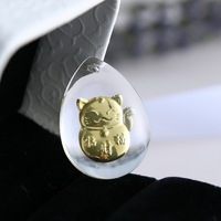 Necklaces jewelry Glass women necklaces Authentic Gold Dust lucky Plutus cat Pendant animal necklaces jewelry