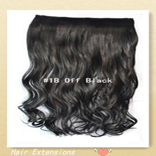 """Long Wavy Clip In Hair Extension Color: #1B Off Black 20""""100g 22""""100g Shipping Free Synthetic Clip In Hair Extension for Women(China (Mainland))"""
