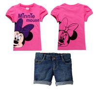 Summer 2014 Baby Girls Clothing Sets O-Neck Minnie Cartoon Style Short Sleeve T-Shirt + Short Pants 2 Pcs Suit K4040