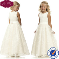 Goingwedding Sleeveless A-line Long Vintage Lace Flower Girl Dress HT034