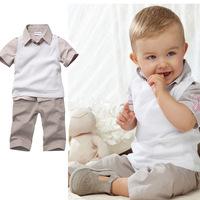 Summer 2014 Baby Boy Clothing Sets Turn-down Collar Short Sleeve Shirt + Vest + Long Pants 3 Pcs Suits Kid Clothes K4052