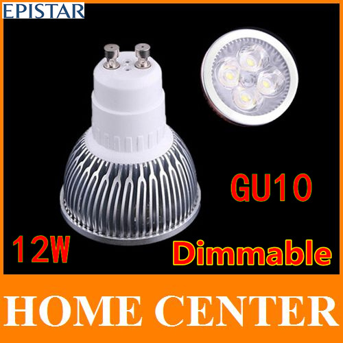 100PCS GU10 12W 4x3W Dimmable Epistar CE warm cold white 960LM High Power LED Lamp spot lighting led bulb(China (Mainland))