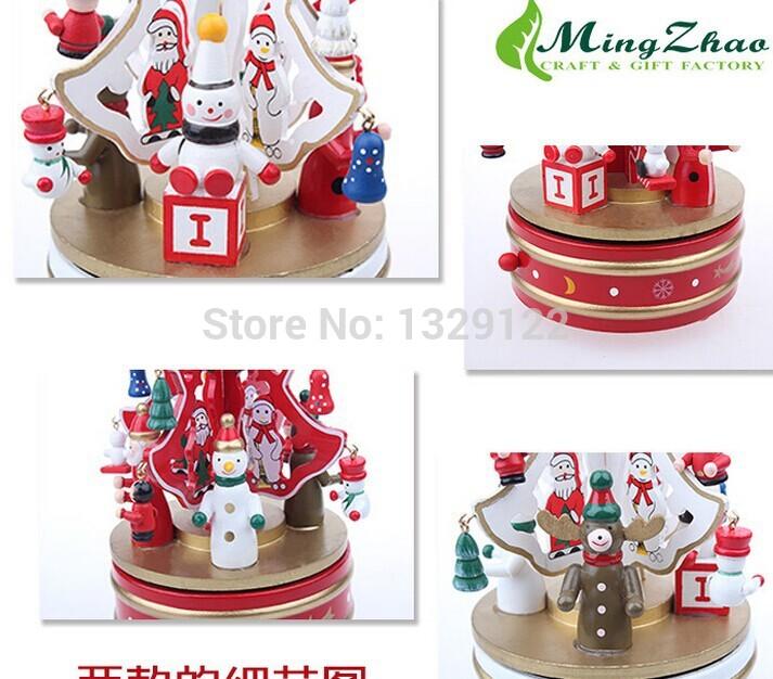 Music Box Christmas Ornaments Ornaments Wooden Music Box