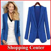 Freeshipping 2014 Women spring/Autumn Casual women Blazer Full Sleeve Long Notched Hidden Breasted OL Slim Jacket Coat Plus Size