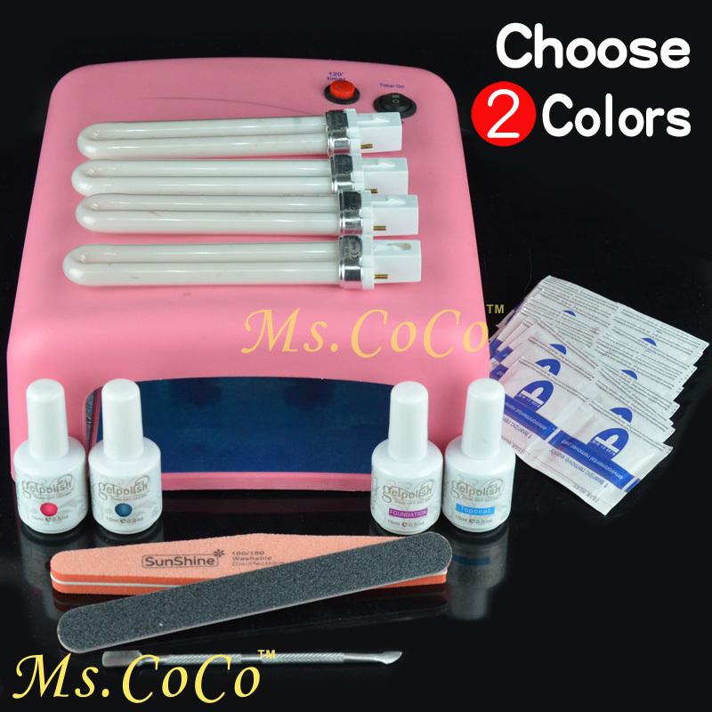 Nail Art Set Soak Off UV Gel Nail Polish base coat top coat gel Polish Kit Gel Nails Lamp 36W Nail Tools Remover Choose 2 Color(China (Mainland))