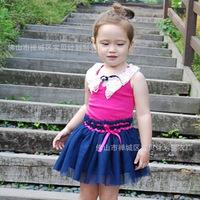 Korean children  princess dress Big Promotion New Brand 2014  Print Sleeveless Doll Collar Child Girls Dress  K6089