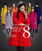 Hot Sale!New 2014 Women Clothing Fashion High Quality Leisure Warm Fur Coat Rex Rabbit Fur Collar Big Size Coat Size:M-XXL