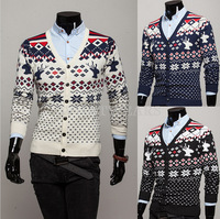 Free Shipping 2014 Winter Mens Vintage Ethnic Jacquard V-Neck Warm Cardigan Slim Sweater Knitwear [4 11-0300]