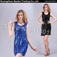 2015 Women Summer Fashion Dress Slim Elegant Sleeveless Sequined Beading Sexy Club Party Dresses Vestido Black Blue QBD205