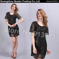 2015 Summer Dress  Women Elegant Sexy Cut Out Striped Sequins Short Sleeve O-neck Shining Party Dresses Black vestido QBD206