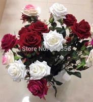 "Velvet Rose 8Pcs 60cm/23.62"" Long Artificial Rose Flowers Fake Plastics flower  for  Wedding Christmas Party Home Decorations"