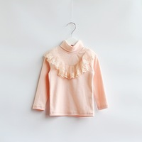 2014 New,girls lace tops,children cotton t shirts tees,long sleeve,pink,1-7 yrs,5 pcs/lot,wholesale,1778
